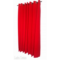 Used Bright Red Flocked Velvet Curtain Panels w/Grommet Eyelet Top