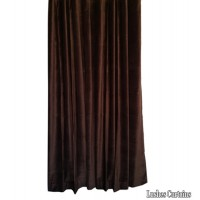 Used Brown Cotton Velvet Curtain 4 ft w x 6 ft h w/Rod Pocket Top