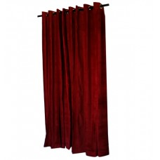 Used Burgundy Cotton Velvet Curtain 7 ft w x 10 ft h w/Grommet Top and Black Lining