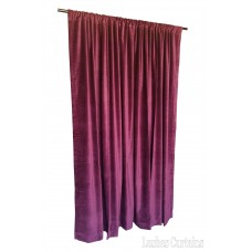 "Used Maroon Cotton Velvet Curtain 303"" w x 83"" h w/Closed Hem Top/Double-Sided Velvet (two fronts)/Intelrining added"