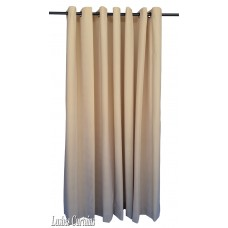 Used Beige Flocked Velvet Curtain w/Grommet Eyelet Top 4ft w x 7ft h