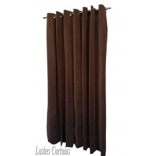 Used Brown Flocked Velvet Curtain w/Grommet Eyelet Top 10'w x 8'h