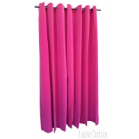 Used Pink Flocked Velvet Curtain w/Grommet Eyelet Top 5'w x 7'h