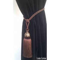 Brown Curtain Wood/Tassel Tie Backs
