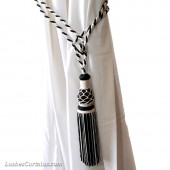 Black and White Curtain Tie Backs