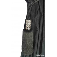 Black Crystal Beaded Head Curtain Tassel Tie Backs