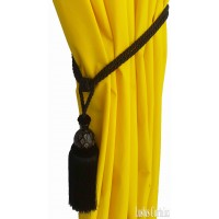 Black Curtain Wood/Tassel Tie Backs
