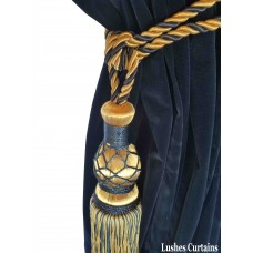 Gold and Blue Curtain Tie Backs