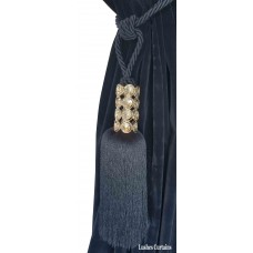 Blue Crystal Beaded Head Curtain Tassel Tie Backs