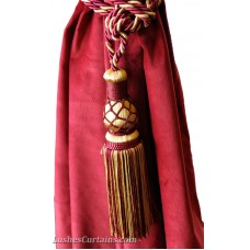 Gold and Burgundy Curtain Tie Backs