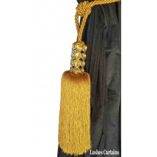 Gold Crystal Beaded Head Curtain Tassel Tie Backs