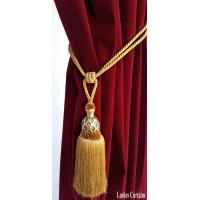 Gold Curtain Wood/Tassel Tie Backs