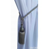 Silver Curtain Wood/Tassel Tie Backs