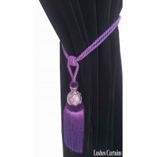 Dark Purple Curtain Wood/Tassel Tie Backs