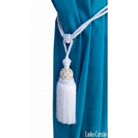 White Curtain Wood/Tassel Tie Backs