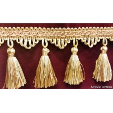 "Gold & Copper Tone 3"" Tassel Fringe Trim"